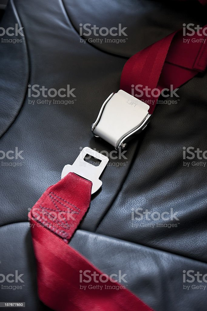 Commercial airliner seat belt. stock photo