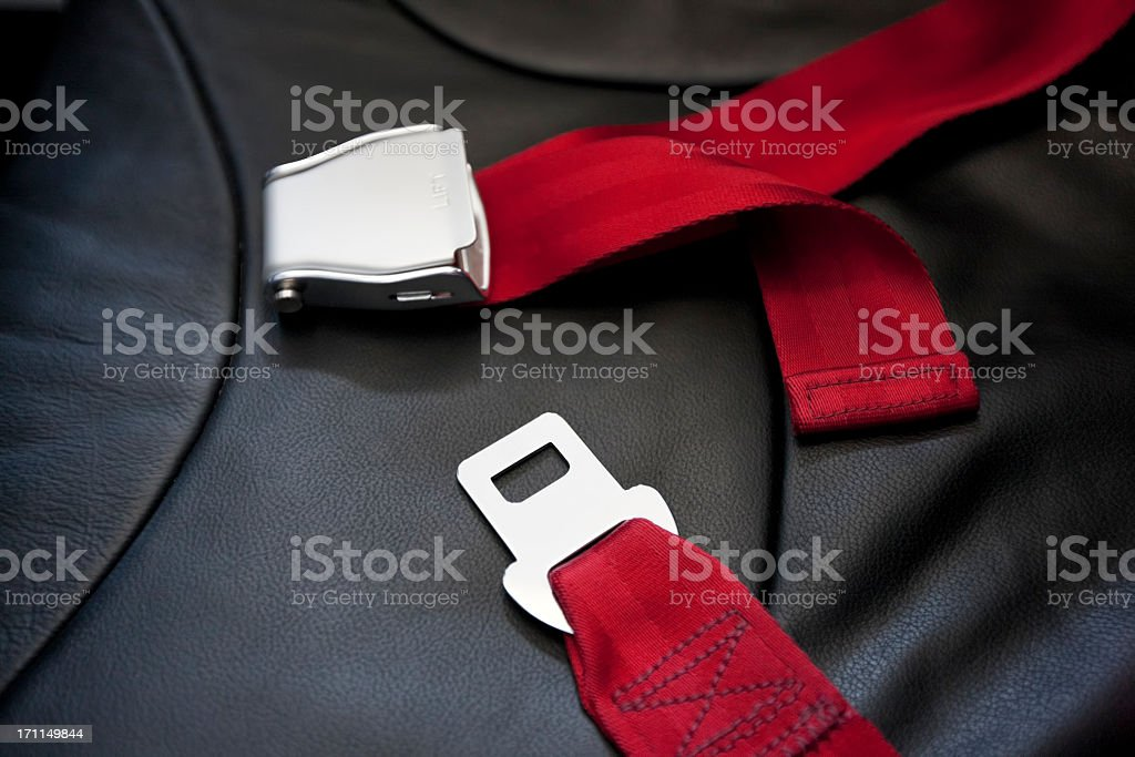 Commercial airliner seat belt. royalty-free stock photo