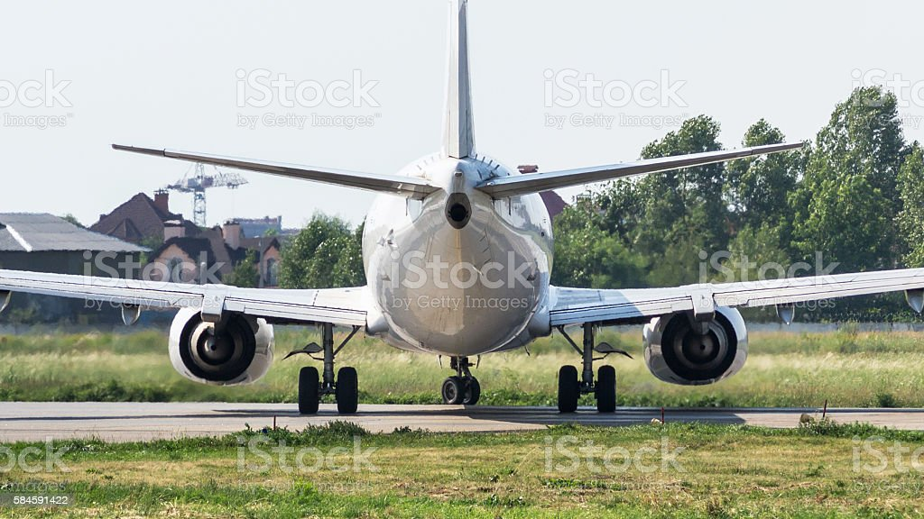 Commercial airplane back view stock photo