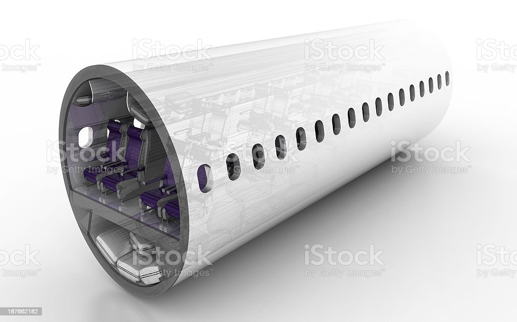 Commercial airplane cross section royalty-free stock photo