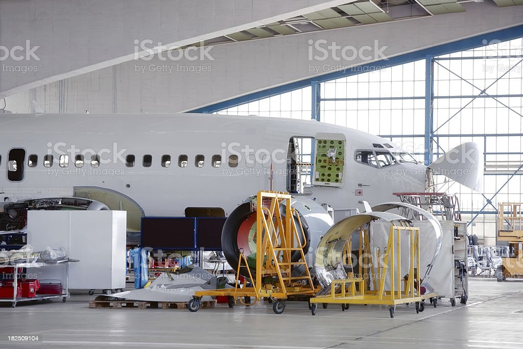 Commercial Airplane Overhaul stock photo
