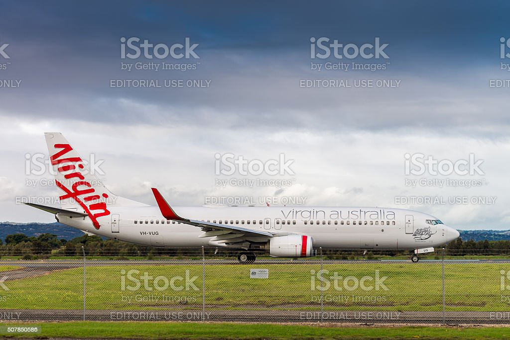 Commercial airplane ready to take off stock photo