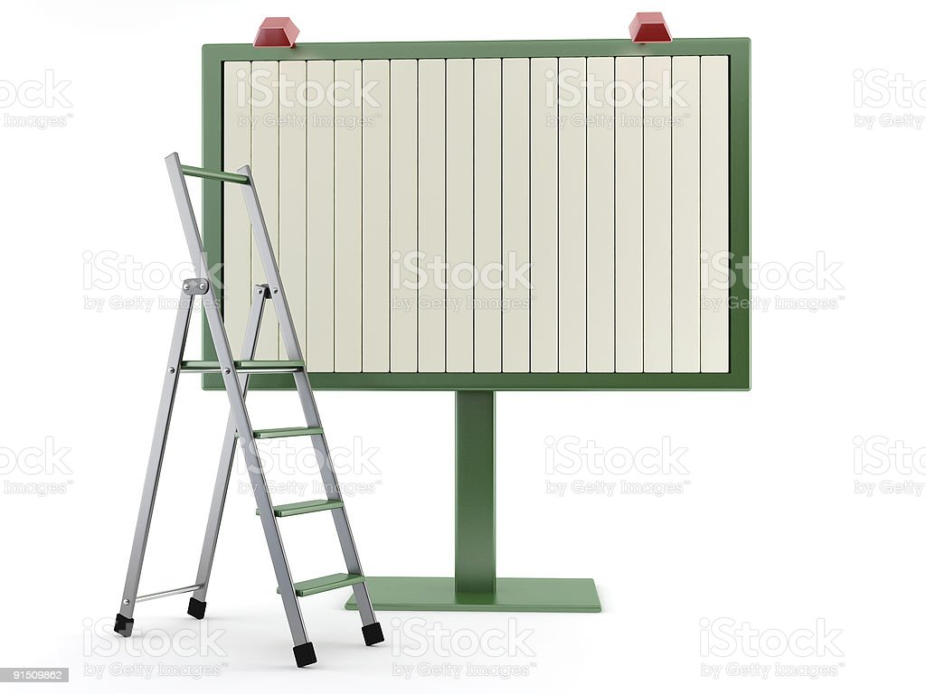 commercial billboard and step-ladder royalty-free stock photo