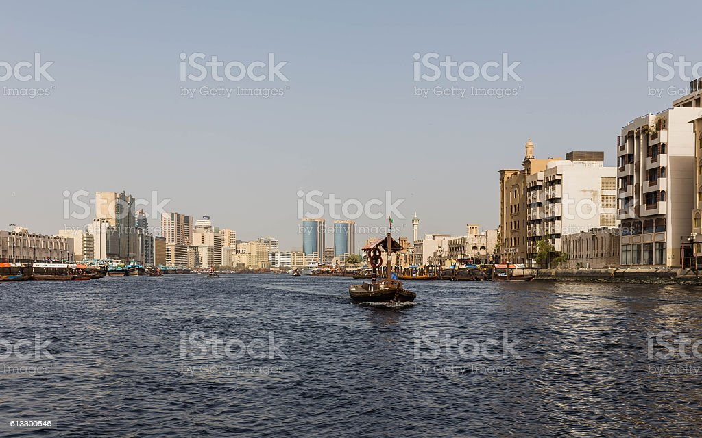 Commercial Boat that Send Messengers Through The River of Dubai. stock photo