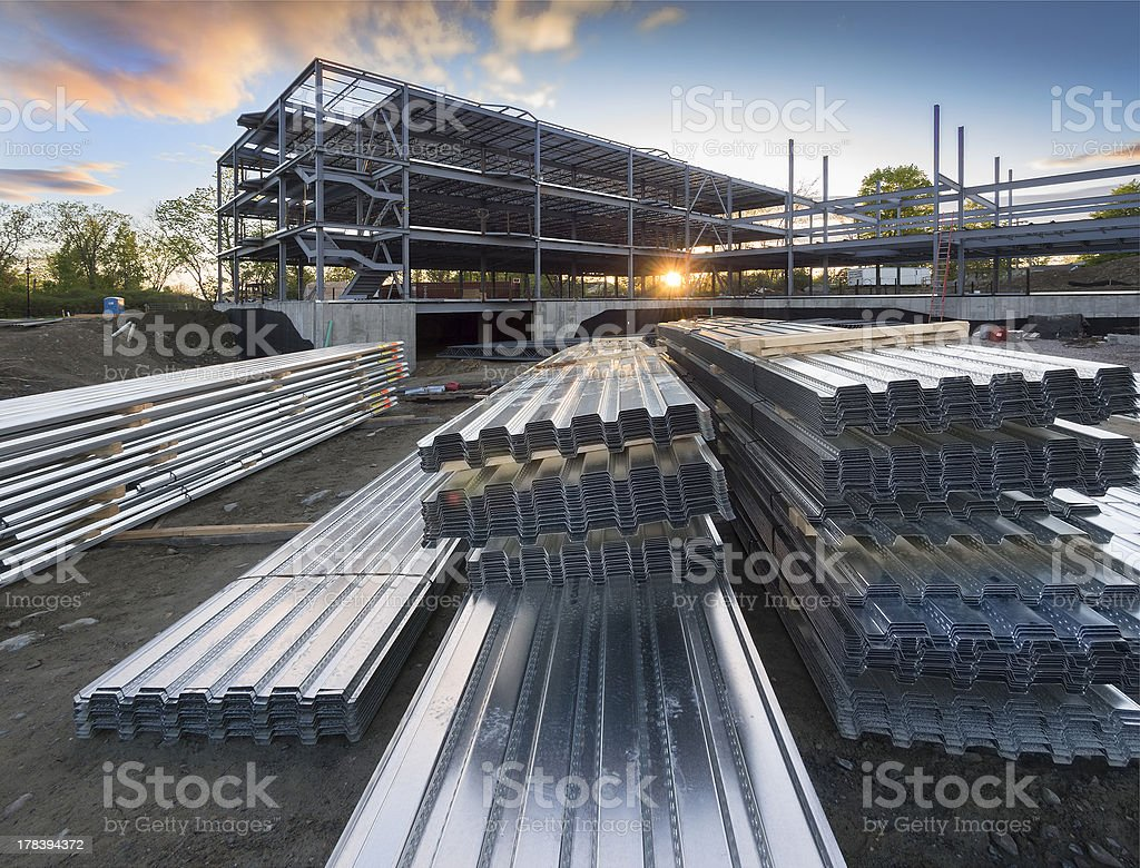 Commercial building construction site stock photo