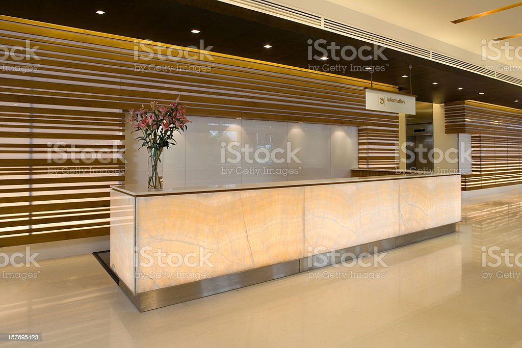Commercial Building Lobby And Reception Counter stock photo
