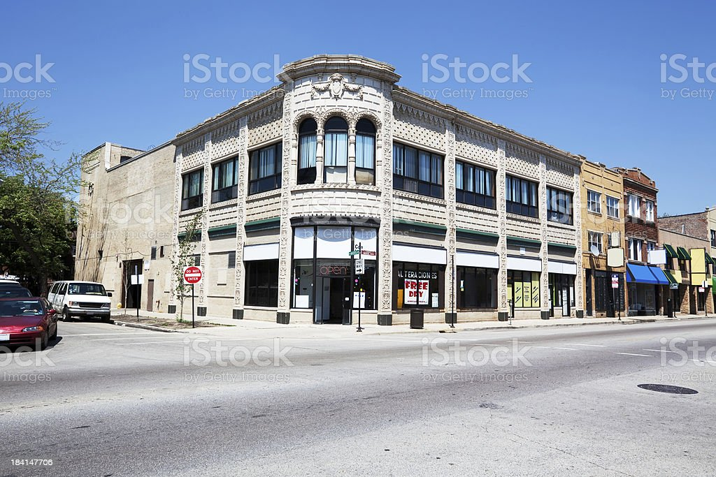 Commercial building on Lawrence Avenue in Albany Park, Chicago stock photo