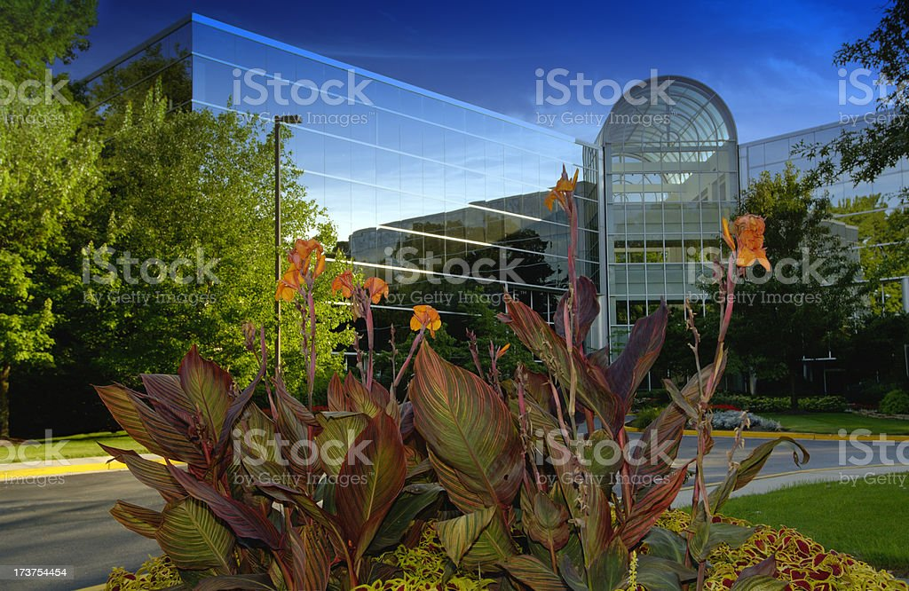 Commercial building with landscaping royalty-free stock photo