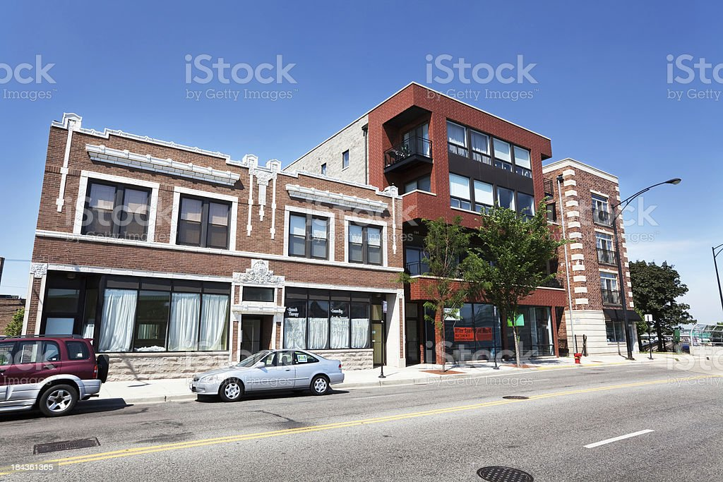 Commercial buildings in Jefferson Park, Chicago stock photo