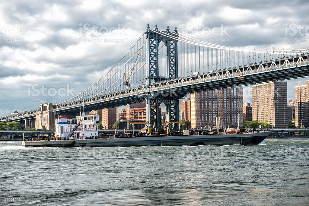 Commercial cargo vessel ship in New York stock photo