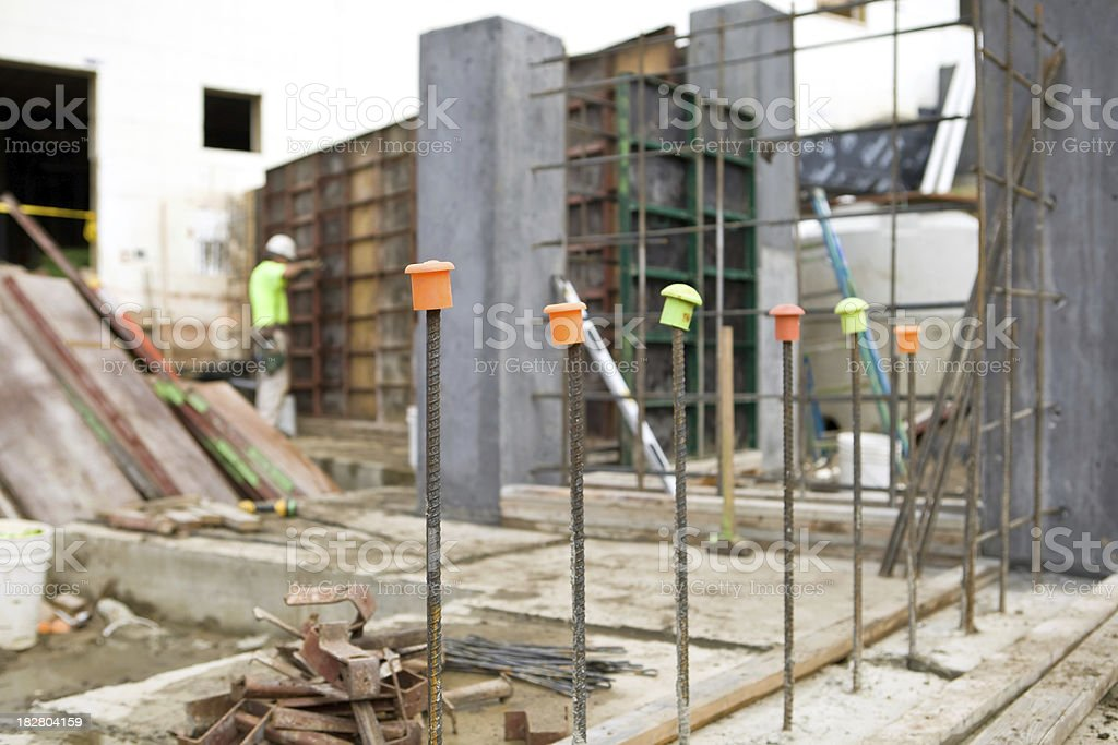 Commercial Construction Concrete Wall Rebar, Columns and Forms stock photo