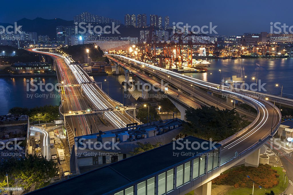 commercial container port in Hong Kong royalty-free stock photo