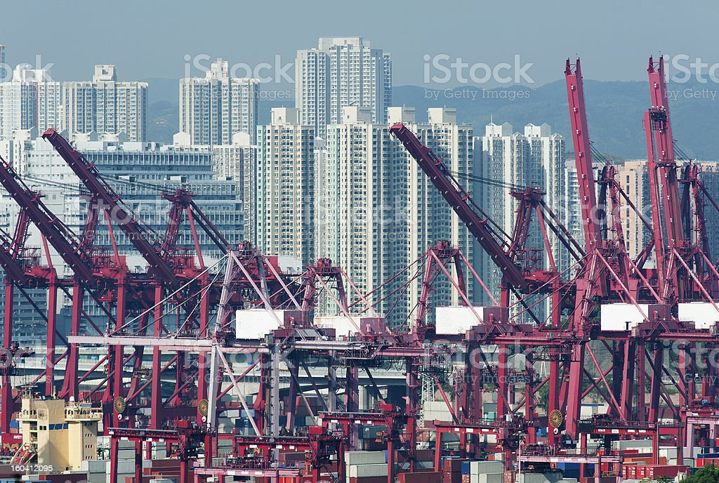 Commercial container port royalty-free stock photo
