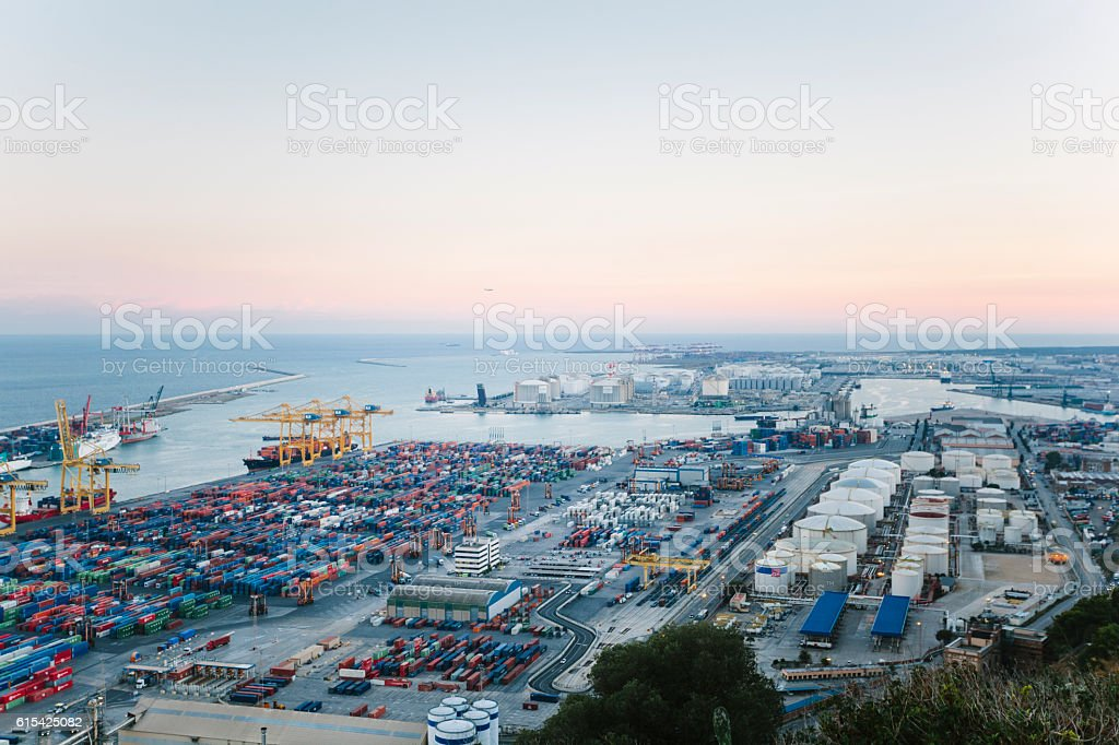 Commercial Dock With Containers And Cranes stock photo