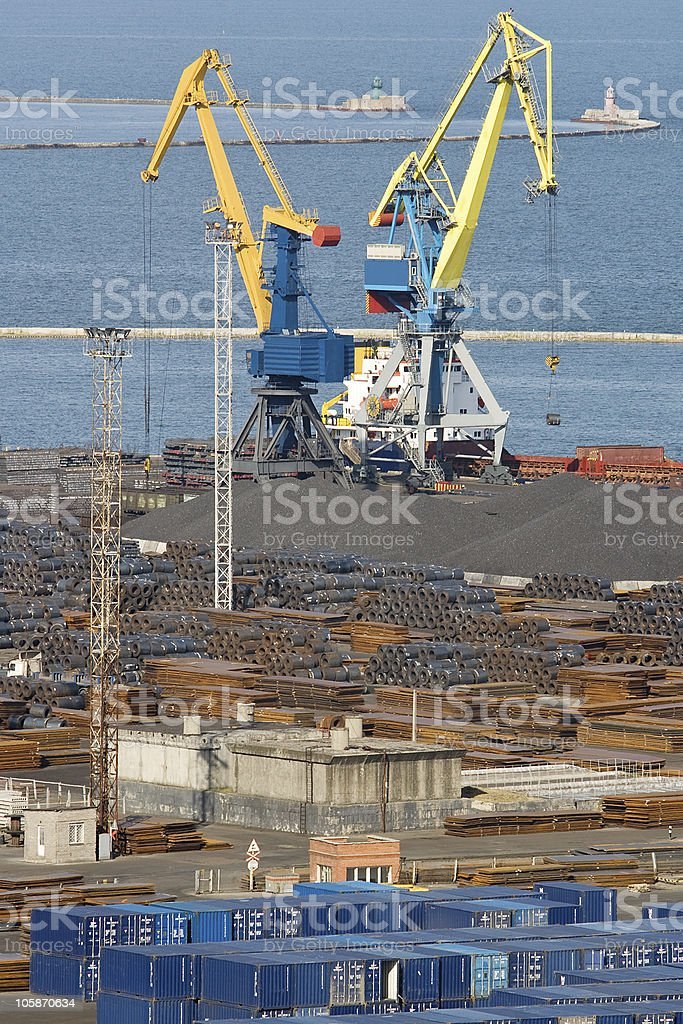 Commercial dock with huge level luffingcranes royalty-free stock photo
