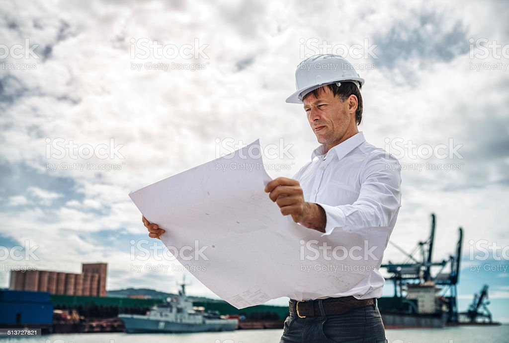 Commercial Dock Worker stock photo