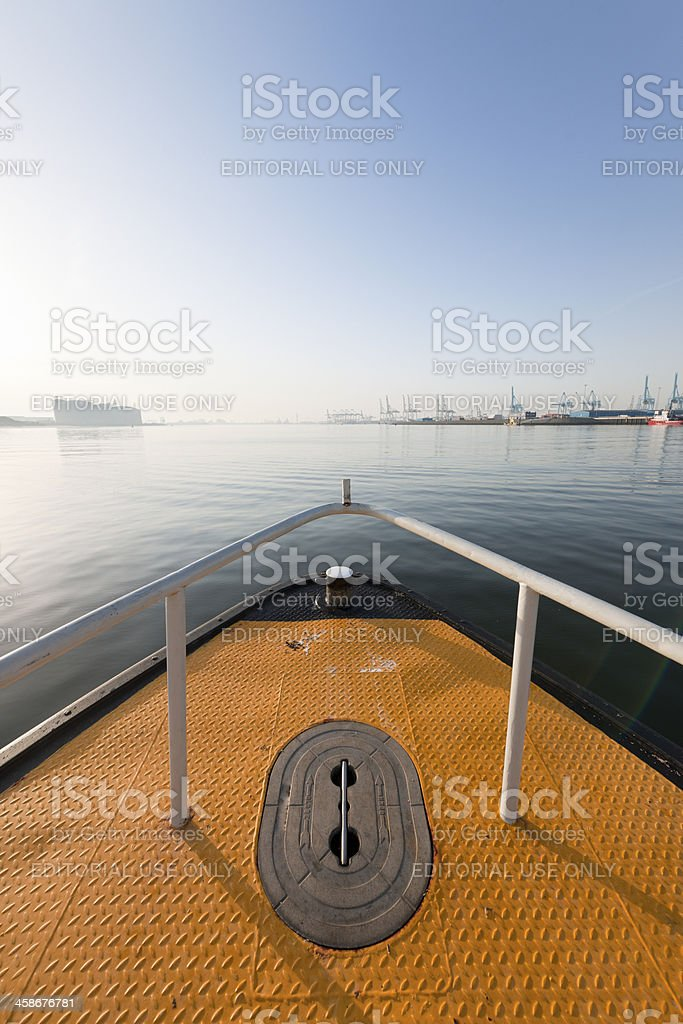 commercial docks at sunrise royalty-free stock photo