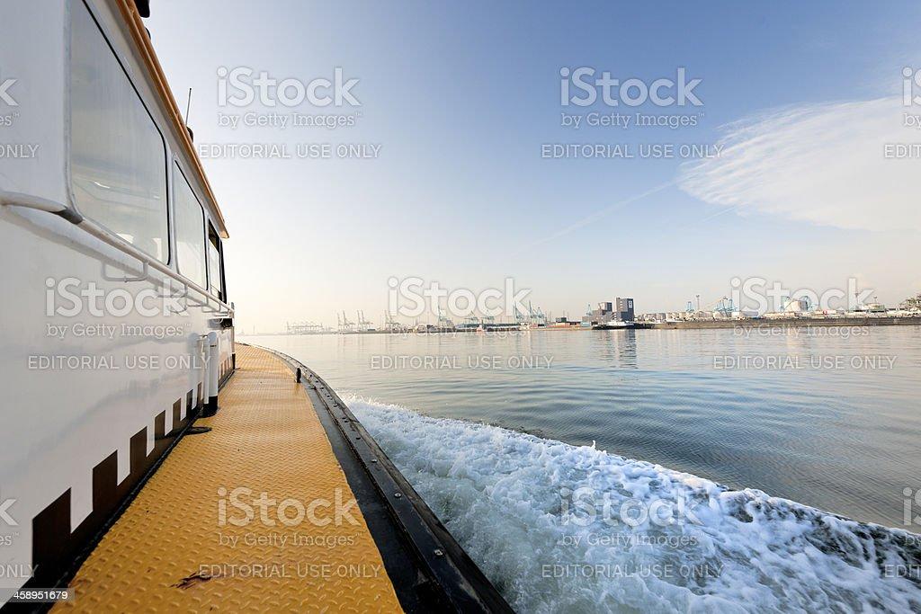 commercial docks at sunrise stock photo