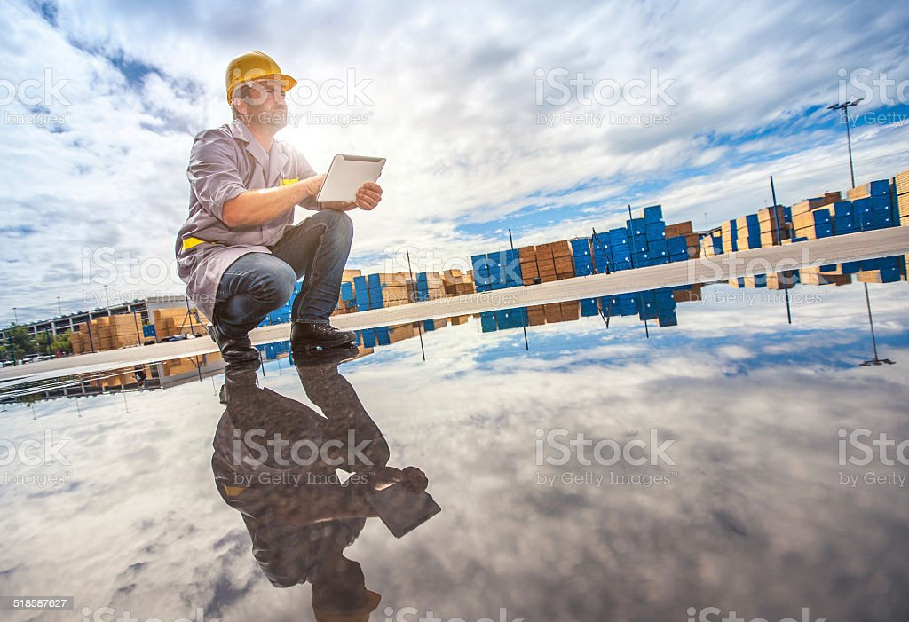 Commercial docks worker stock photo