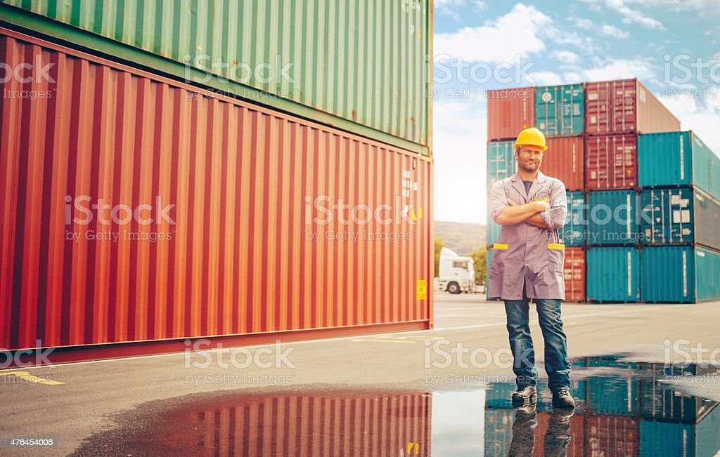 Commercial docks worker portrait stock photo