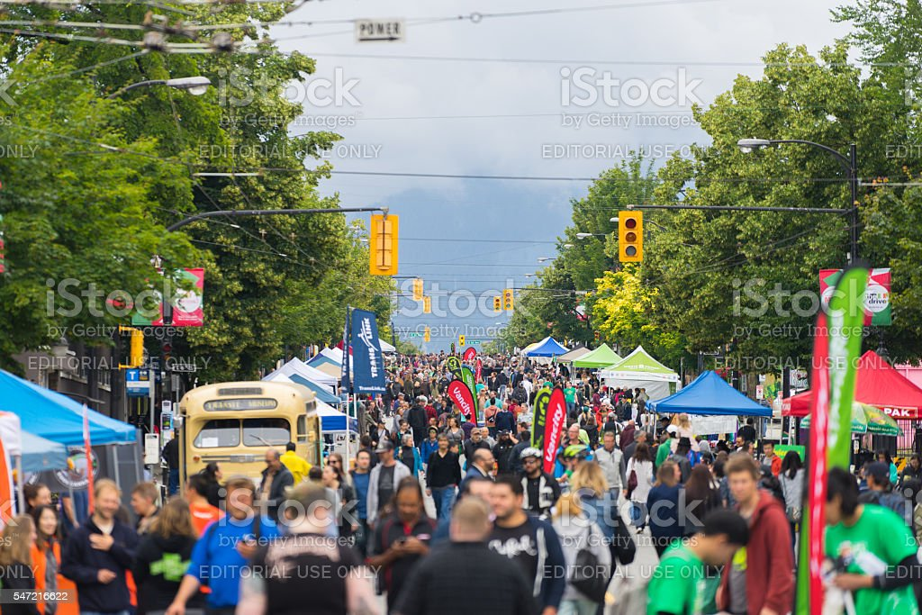 Commercial Drive Celebrating Car-Free Day stock photo