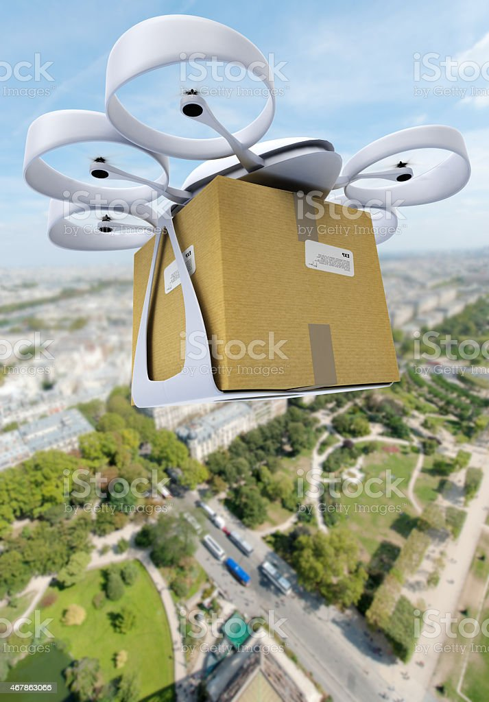 Commercial drone flying above a big city stock photo