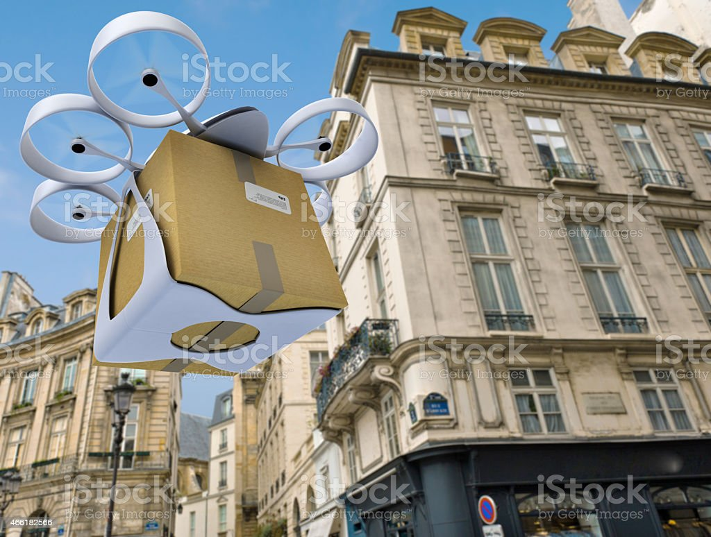 Commercial drone flying around Paris stock photo