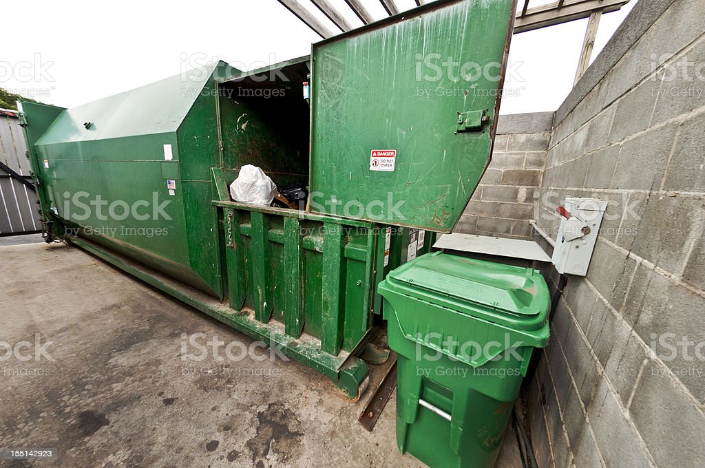 Commercial Dumpster With Compactor stock photo