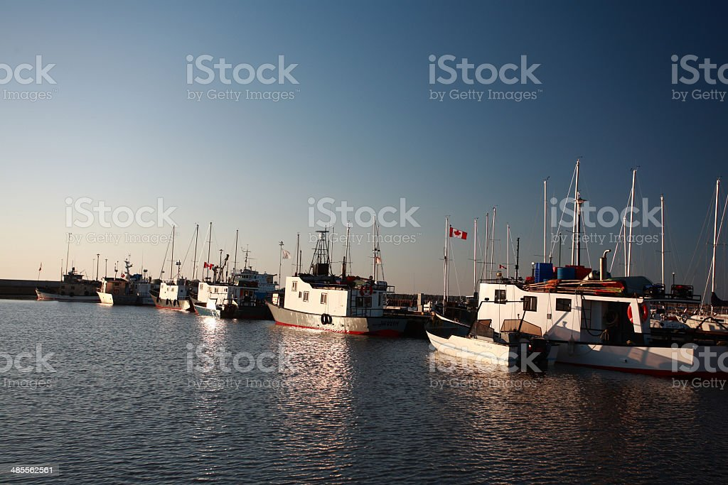 commercial fishing boats at Gimli Marina on Lake Winnipeg stock photo