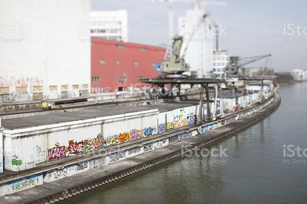 Commercial Harbour With Graffities royalty-free stock photo