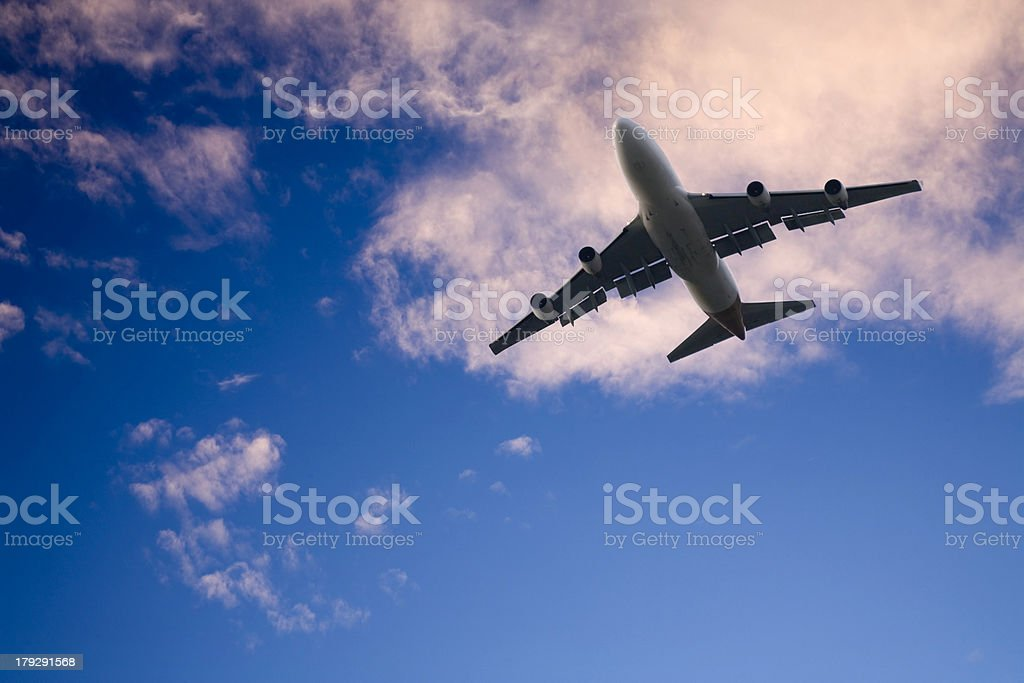 Commercial Jet in Twilight Sky royalty-free stock photo