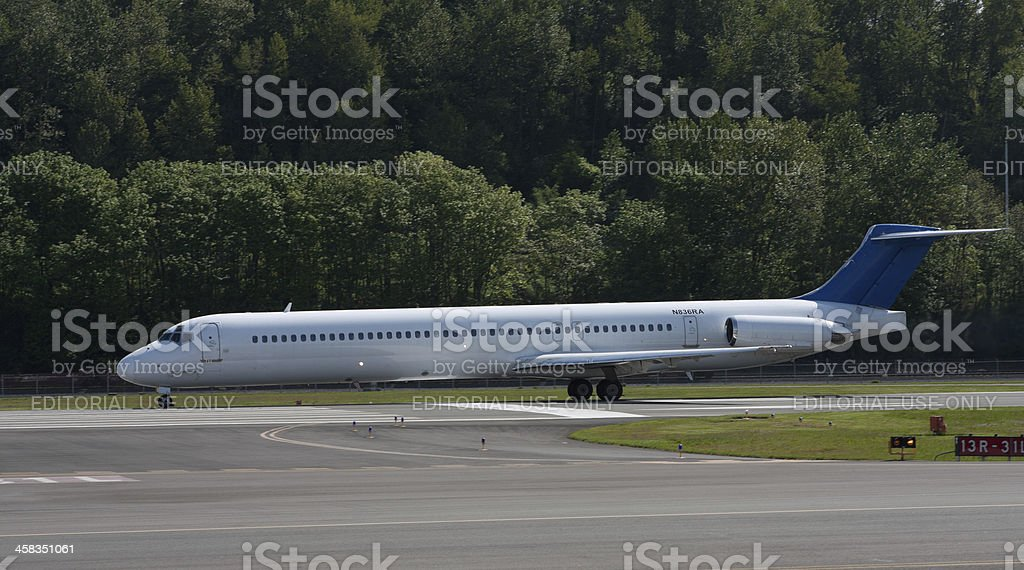 Commercial Jet on Runway royalty-free stock photo
