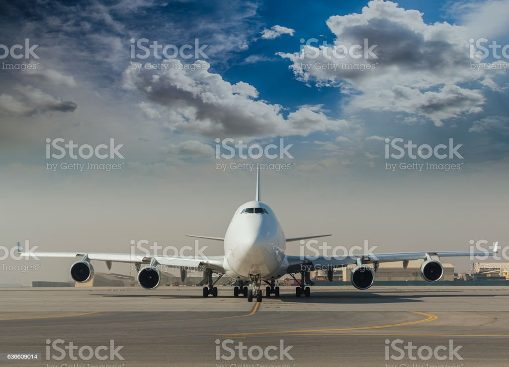 Commercial Jet on taxiway stock photo