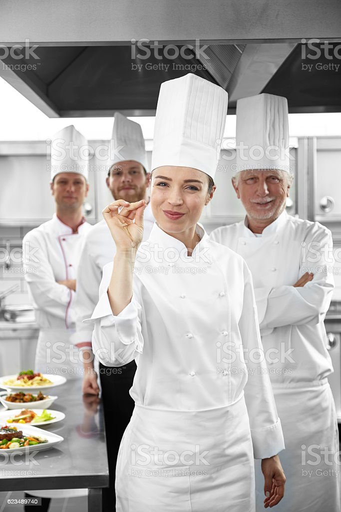 Commercial kitchen and chefs stock photo