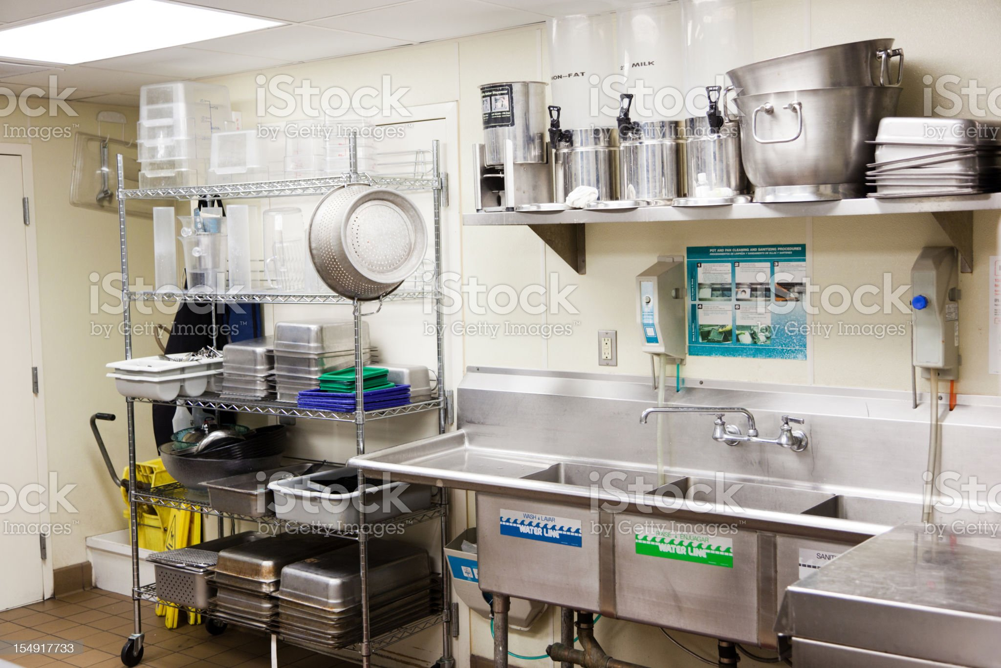 Commercial Kitchen Dish Washing royalty-free stock photo