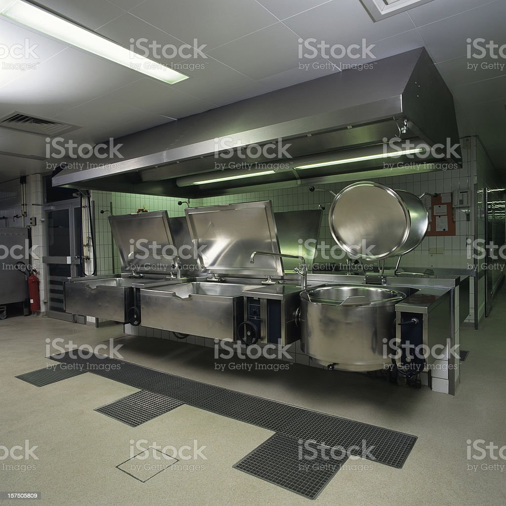 Commercial kitchen view stock photo