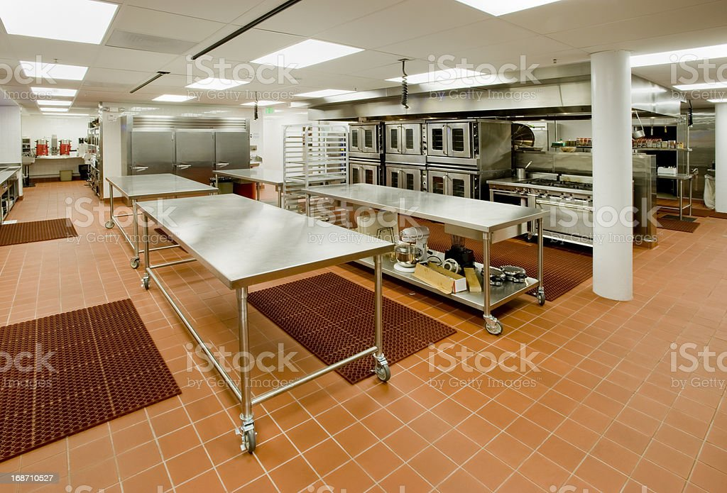 Commercial Kitchen with Prep Tables and Ovens stock photo