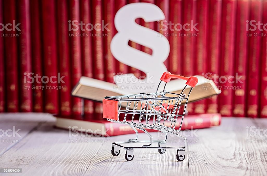 Commercial law symbols in court  library. stock photo