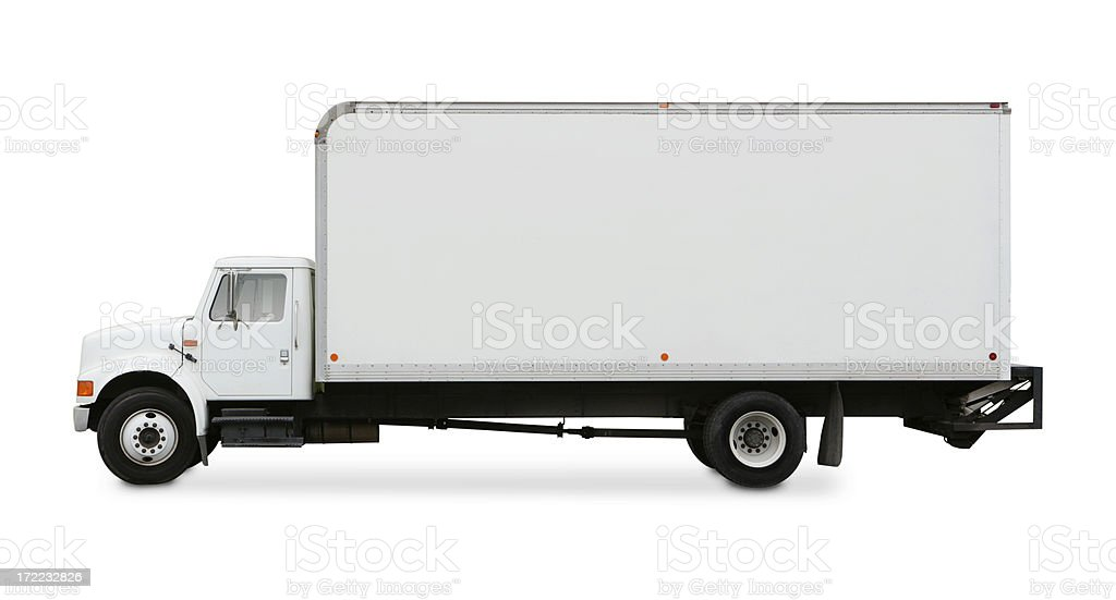 Commercial Moving Truck Isolated on White Background stock photo