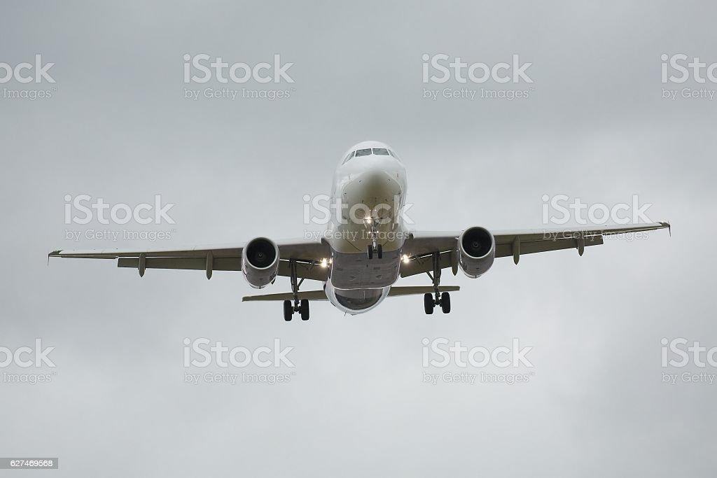 Commercial Plane Landing stock photo