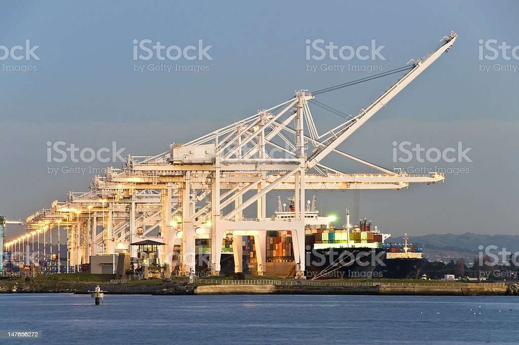 Commercial port at dusk stock photo