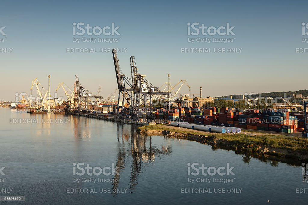 Commercial Port of Gdynia stock photo