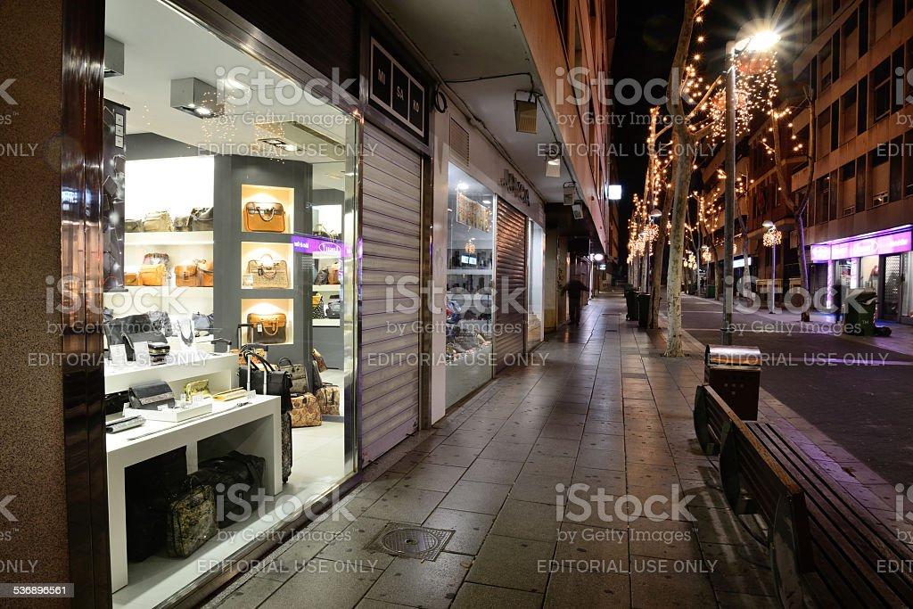 Commercial premises in Christmas season. stock photo