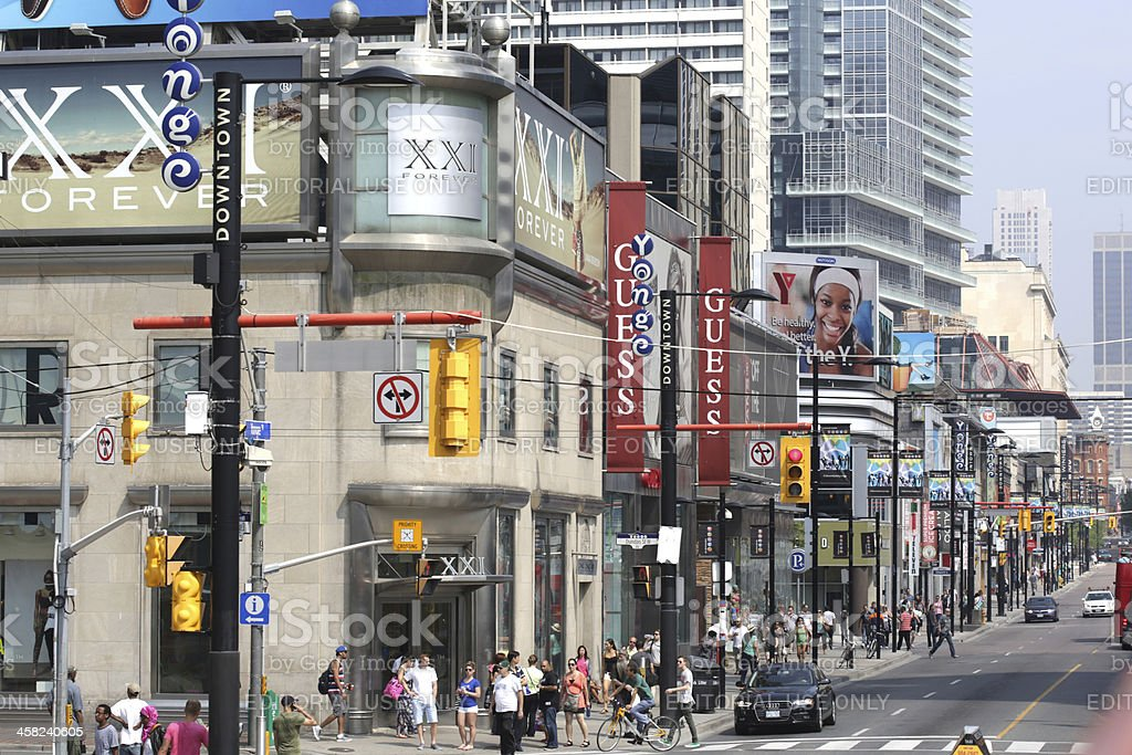 Commercial Retail District, Yonge Street at Dundas, Toronto in Summer royalty-free stock photo