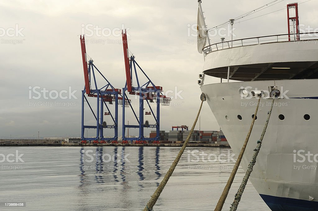 Commercial seaport activity stock photo