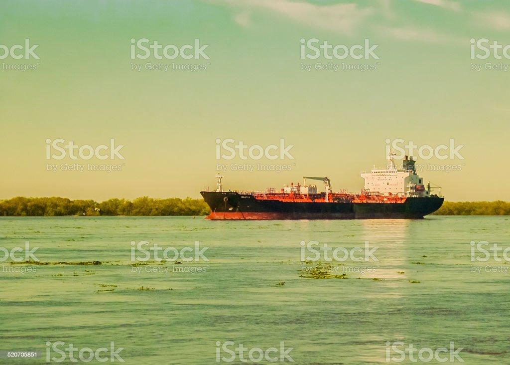 Commercial Ship Crossing the Parana River stock photo