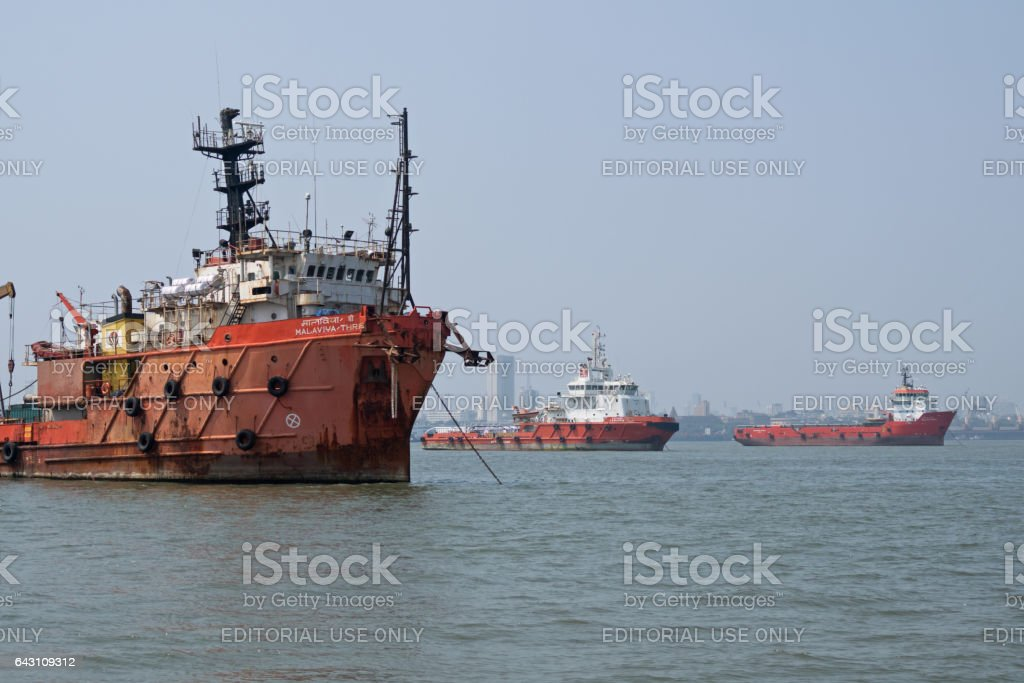 Commercial shipping moored off Mumbai stock photo