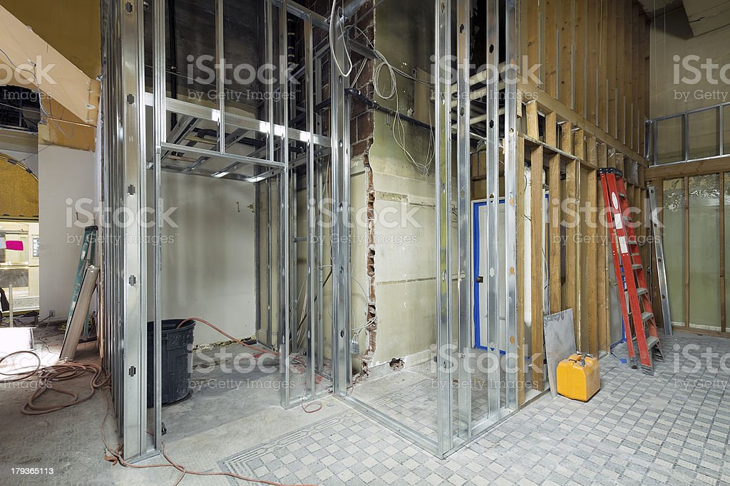Commercial Space Metal Stud Framing stock photo