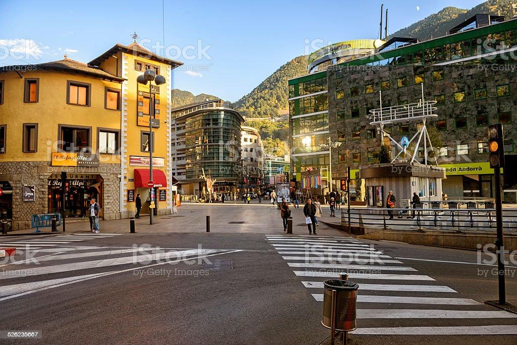 Commercial street  in Andorra la Vella stock photo