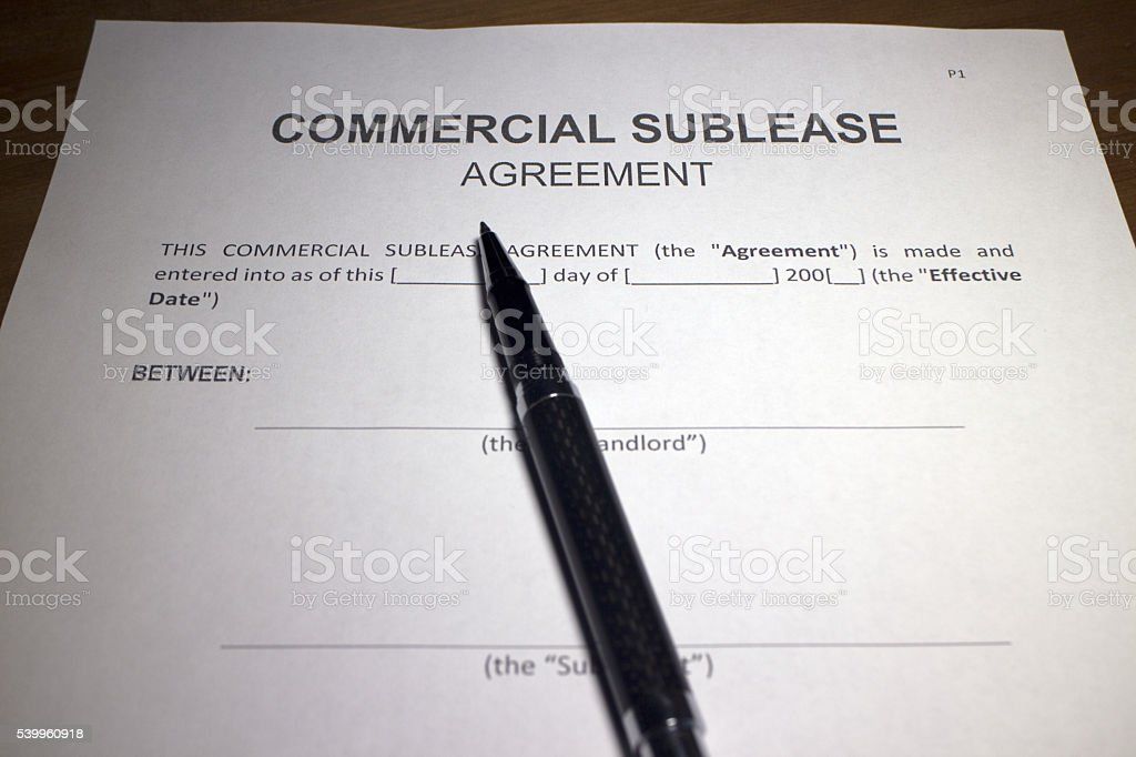Commercial Sublease Agreement stock photo